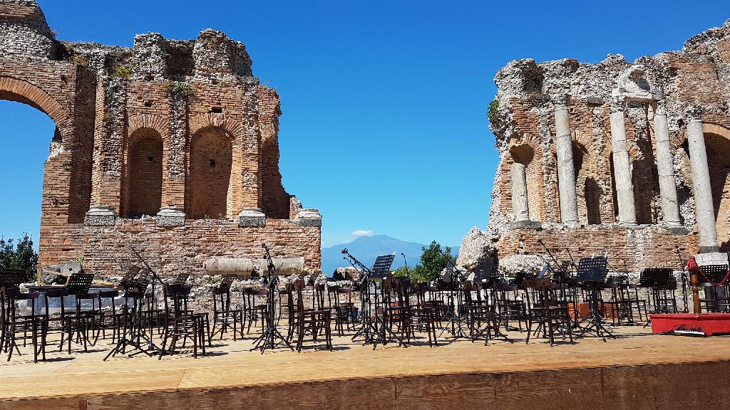 inside taormina greek roman theater
